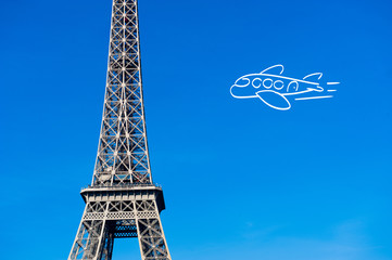 Paris Eiffel tower with plane drawing