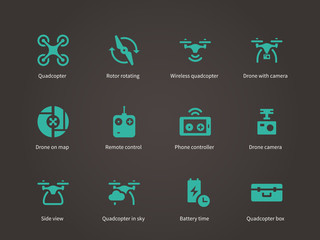 New technologies flying drone icons set.