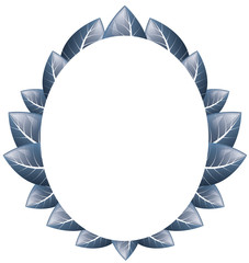 Vector. Oval frame of blue leaves on a white background