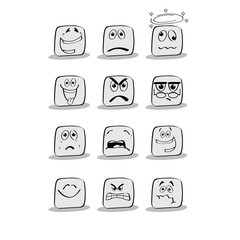 Emotional faces. Vector.