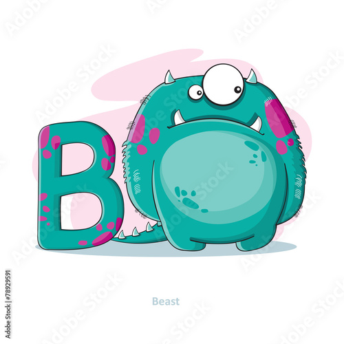 Cartoons Alphabet - Letter B with funny Beast