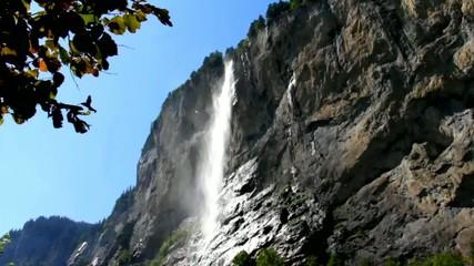 Staubbach falls from Lauterbrunnen valley , Switzerland
