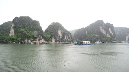 Time Lapse of Boats on a Rainy Foggy Day in Ha Long Bay Vietnam