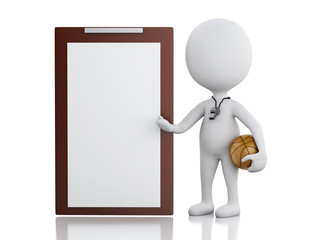 3d white people coach with Clipboard.  Isolated white background