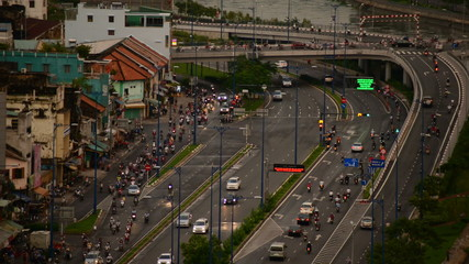 Time Lapse of Traffic on Busy Street in Downtown Ho Chi Minh City Vietnam