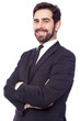 Portrait of a happy smiling handsome business man, isolated on w