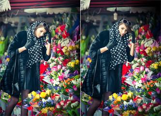 Beautiful brunette woman choosing flowers at florist shop