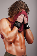 Man after sport training
