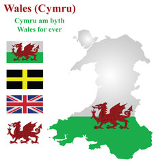 Flag and national emblem of Wales