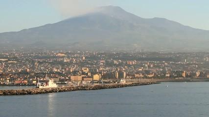 City, sea port, volcano. Etna, Catania, Sicily, Italy