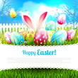 Sweet Easter greeting card with colorful eggs in the grass