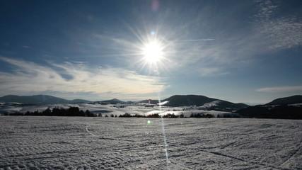 Time laps of sun on mountain