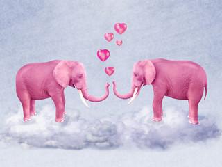 Two pink elephants in love.
