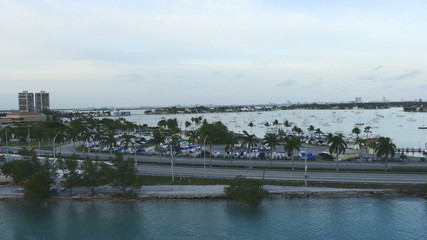 Time Lapse of Miami Causeway with Traffic