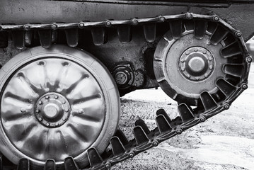 The wheels of a military armored fighting vehicle.