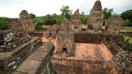 Pan of Ancient Temple Remains from Above - Angkor Wat Temple Cambodia
