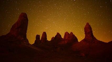 Time Lapse of Tronas Pinnacles at Night - California Desert
