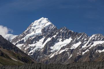 Aoraki Mount Cook Peak closeup in the summer, New Zealand