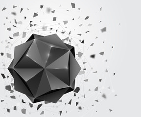 Polygonal geometric form. Abstract 3d shape.