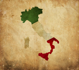 Vintage map of Italy on grunge paper