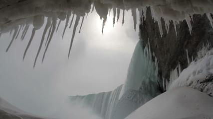 Under Niagara Falls in Winter with Sound