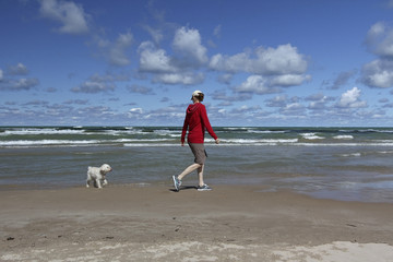 Woman Walking on a Lake Huron Beach with a Small White Dog