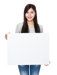 Woman show with white board