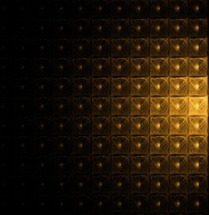 Golden modular pattern on black