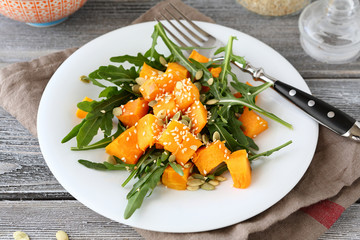 Light salad with baked pumpkin