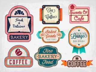 vector vintage bakery, cafe badges