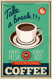 vector vintage coffee poster - 78943775