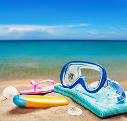 beach accessories for relaxing on the sand on the sea