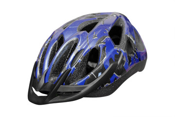Blue bike helmet under the light background