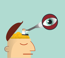 Illustration Businessman thinking -Telescope