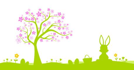 Grüne Osternwiese mit Baum