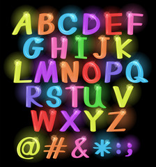 Neon coloured letters