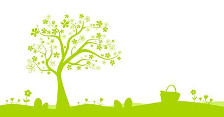 Osterwiese mit Baum