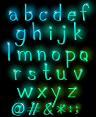 Sparkling letters of the alphabet