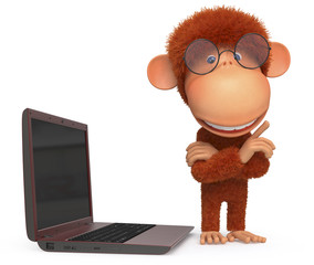 the red monkey with the laptop