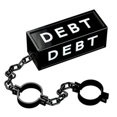 Finance concept: Black shackles with word debt