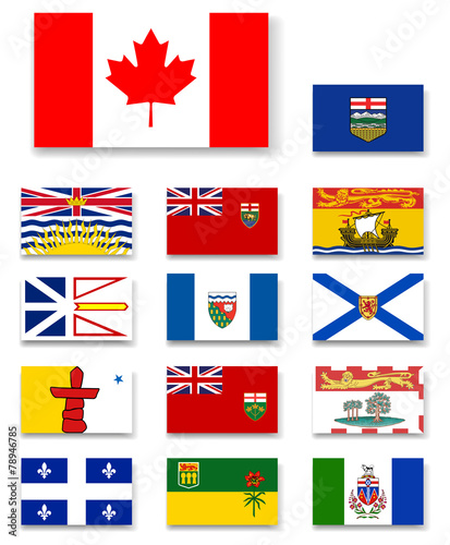 Canadian provinces and territories flags set - 78946785