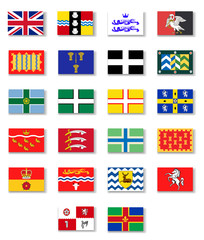 Flags of the counties of England. Set 1