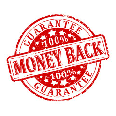 Damaged red round stamp with the word - money back - guaranteed