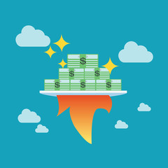 Growing money with rocket, Business concept,vector,illustration.