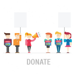 People donate at donation box,vector,illustration.