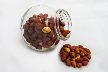 Roasted peanuts in glass