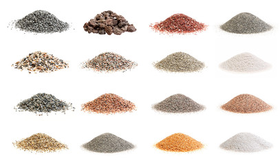 Set of decorative soils and sands isolated.