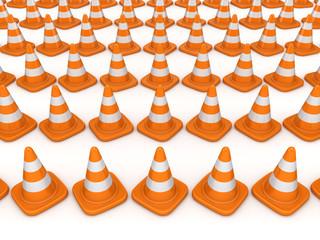 3d rendered traffic cones.