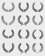 Black silhouettes of laurel wreaths, vector