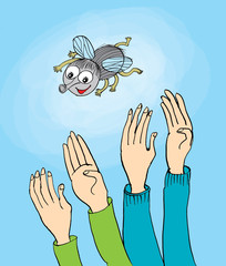 cartoon fly and man hands